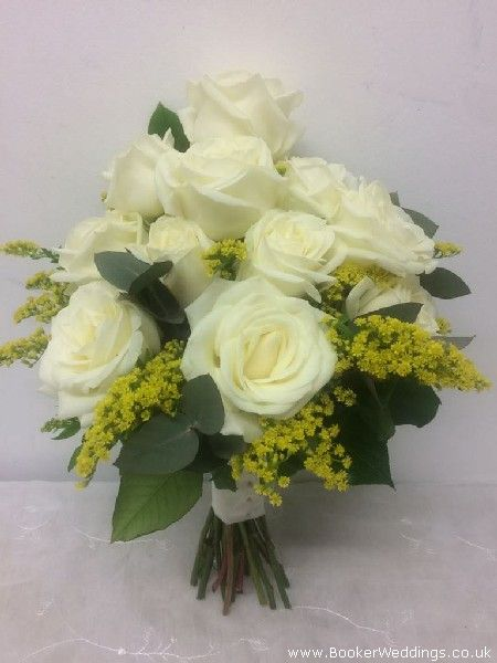 White Rose And Yellow Flower Bouquet Wedding Flowers Liverpool