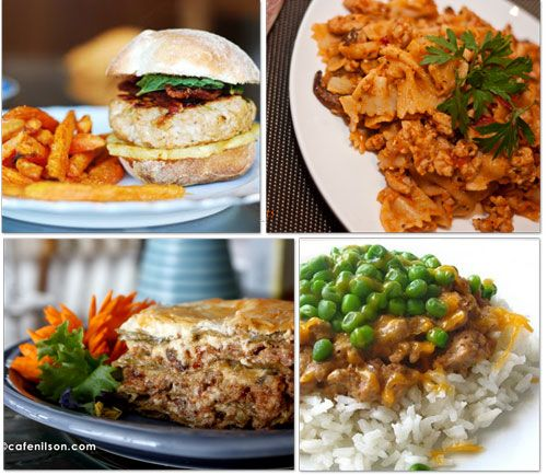 Ground Turkey Recipes! We eat a lot of ground turkey in our house hold. This sounds like some great options!