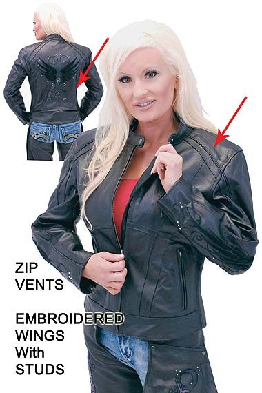 Women's Leather Motorcycle Jacket with Wings