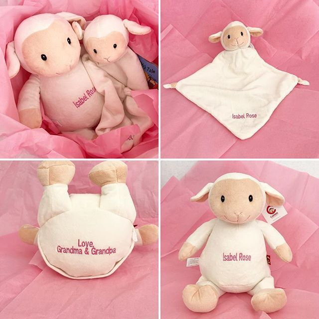 Create lasting memories by embroidering a message on the bottom of the gift. Our baby gifts are packaged in gift bags. @cubbies lamb has removable stuffing pods for easy laundering! #grandparents #grandpa #grandma #grandmother #babygirl #babyboy #baby #babyshower #babygift #embroidery #monogram #lamb #stuffedanimals #smallbusiness #familybusiness