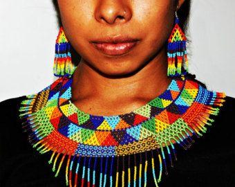 Indianer Perlen Halskette Huichol-Kette von BiuluArtisanBoutique