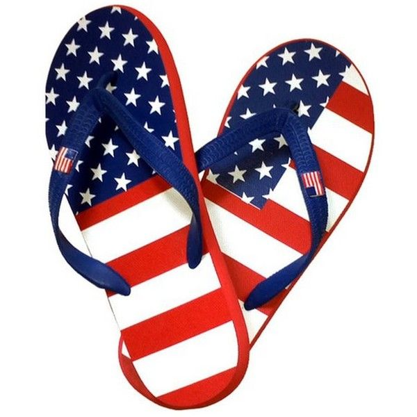 Women's American Flag Flip Flops ($15) ❤ liked on Polyvore featuring shoes, sandals, flip flops, wide sandals, wide shoes, wide width flip flops, american flag sandals and wide fit shoes