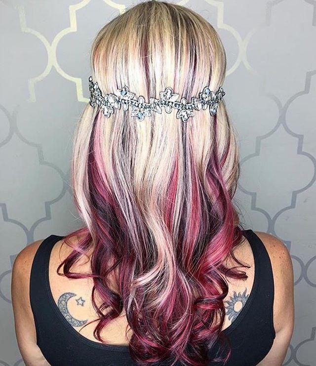 Blonde & Raspberry! Hair by: @hair_wizahd  #Mermaidians