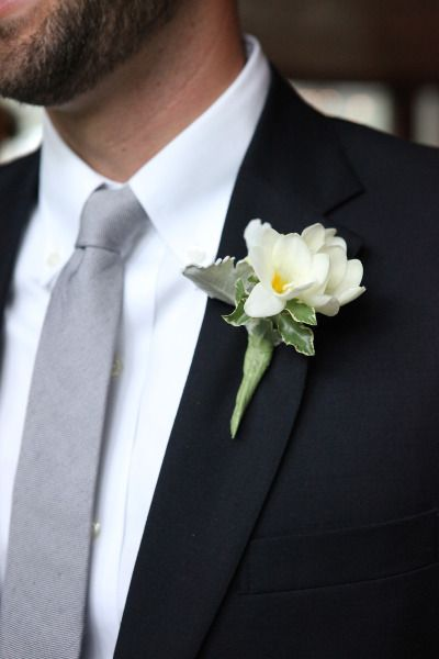 Elegant boutonniere: http://www.stylemepretty.com/texas-weddings/austin/2014/01/23/vintage-romantic-wedding-at-salt-lick-bbq-in-austin-tx/   Photography: Braden Harris - http://www.bradenharris.com/