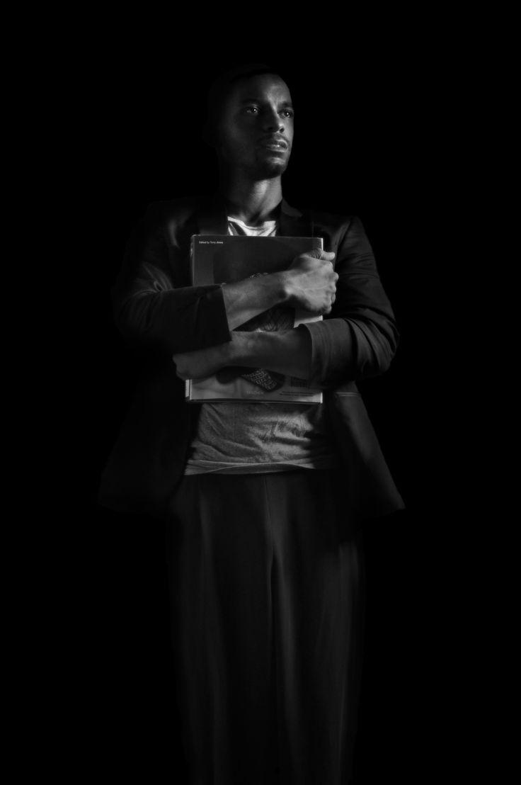 """Studying"" by Tony Woods #selfportrait #portrait #blackandwhite #photography #fashion #fashionmodels #style #blackmalemodels #male #malemodel #suit #mensfashion #TWP #TonyWoodsPhotography #modeltonywoods"