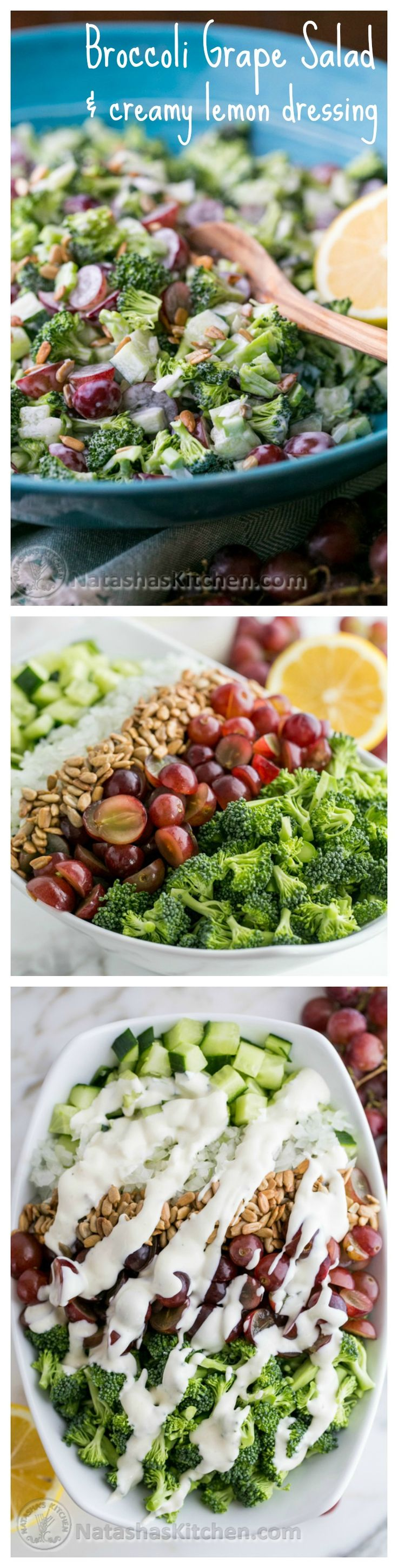 Broccoli Grape and Cucumber Salad with Creamy Lemon Dressing - Another awesome salad creation to make ahead that refrigerates well.