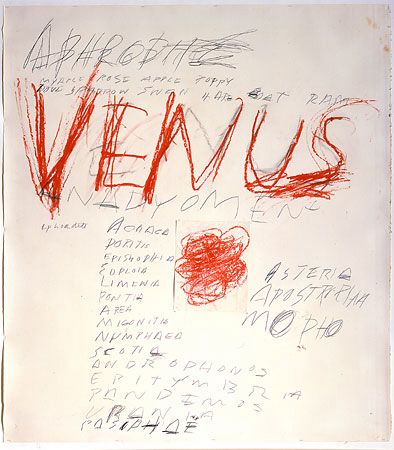 In the characteristic Cy Twombly (b. 25 April 1928) reproduced above, the singularity of matter (Taurus) is differentiated into two (Gemini) stones, slate and chalk, representing the possibility of communicative meaning (writing) as yet contentless. In the work below, he pays hommage to Taurus's tutelary deity, while exploring the way meaning and sensuosity awaken in crude scratchings
