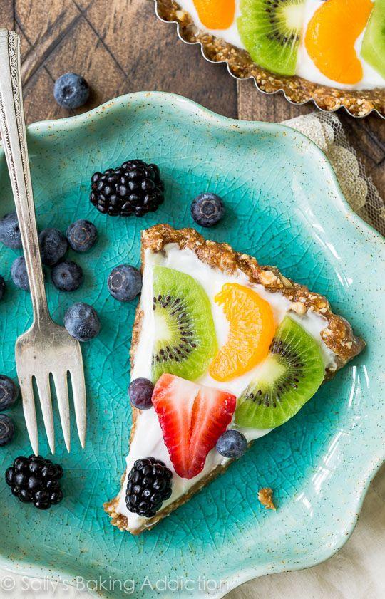 Healthy Greek Yogurt Fruit Tart made with a two ingredient gluten free crust!