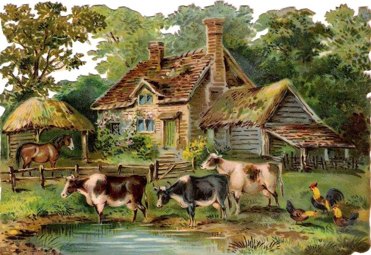 Oblaten Glanzbild scrap chromo die cut Farm 17cm Kuh cow rooster Hahn Land Haus: