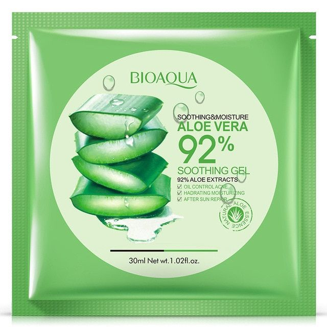 Bioaqua Natural Aloe Vera Gel Face Mask Skin Care Moisturizing Oil Control Wrapped Mask Shrink Pores F Moisturizing Face Mask Skin Care Face Mask Gel Face Mask