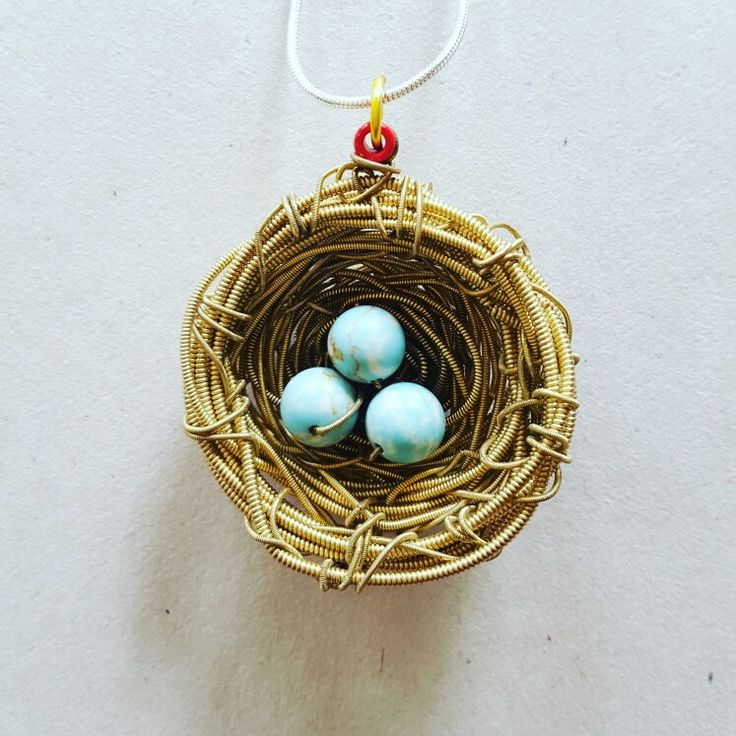 REPURPOSED GUITAR STRINGS BIRDS NEST NECKLACE  Turquoise, sterling silver necklace. Email: billybibbitpaidtheprice@gmail.com  Facebook: Billy Bibbit Paid The Price