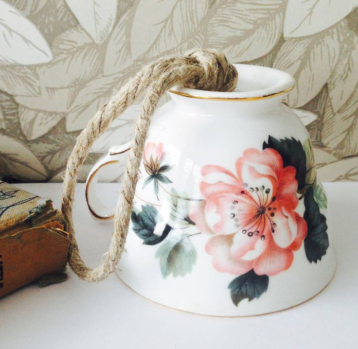 Vintage Pink Rose Bird Feeder Tea Cup