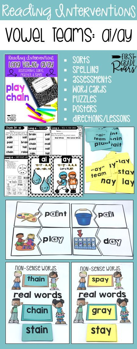 This binder is full of ideas for reading interventions, small group teaching or to use with your entire classroom of kindergarteners, first graders, or struggling second graders. It focuses on ai/ay vowel teams. There are word sorts, writing, chants, word cards, games, pre & post assessments, directions and written ideas for lesson or interventions. Use some of these ideas in centers as well. Students will work hard to master the ai/ay teams. Everything is easily stored in a 1/2 inch binder.