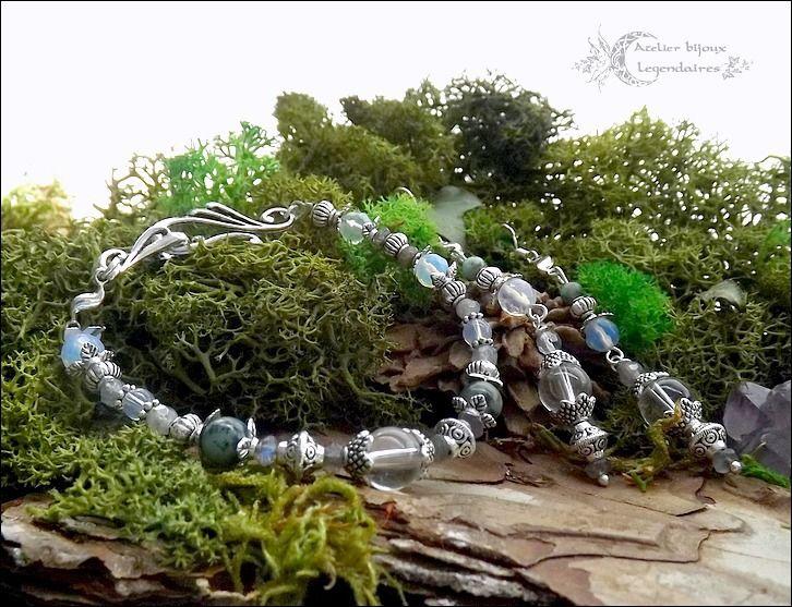 ᘛ Alliance minérale ᘚ Parure bracelet & boucles, Cristal de roche, Turquoise Africaine, Labradorite et opaline facettées : Parure par atelier-bijoux-legendaires