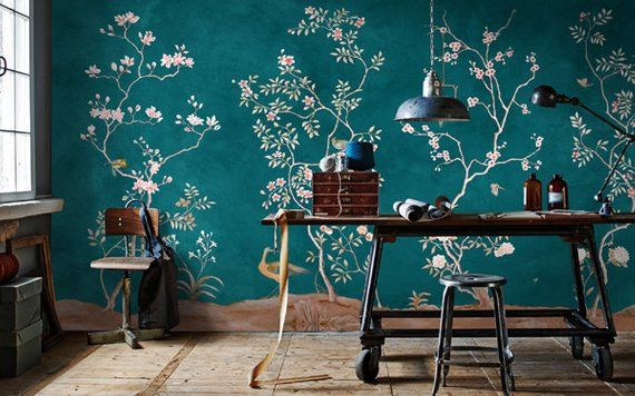 Chinoiserie Removable Wallpaper Floral Vintage Bird Wall Etsy Removable Wallpaper Chinoiserie Wallpaper Floral Wallpaper