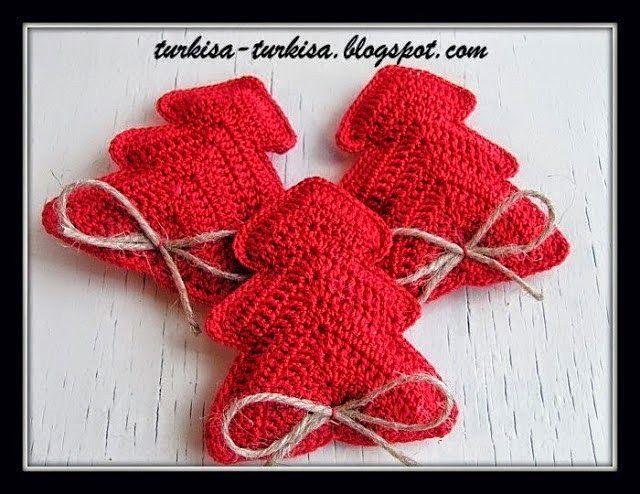 Adornos navideños al crochet, patrón de árbol de Navidad para colgar