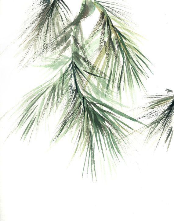 Pine Tree Branch, Watercolor Painting Art Print, Green , Abstract, Minimalist, Modern Art, Watercolour Painting Art