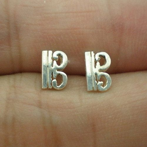 Alto Clef C Music Note Silver Ear Stud Earring by yhtanaff on Etsy, $29.00