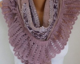 Pink Knitted Scarf ShawlFall Winter Scarf Lace by fatwoman on Etsy