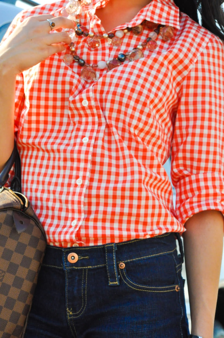 Orange Gingham Styling A Gingham Shirt Pinterest