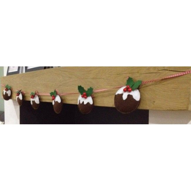 Felt Christmas Pudding Garland