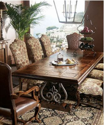 Dining table with iron support............I'd like it in a smaller version as a coffee table.