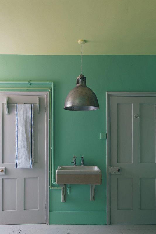 "Farrow & Ball ""Arsenic"" Paint - mint green room"