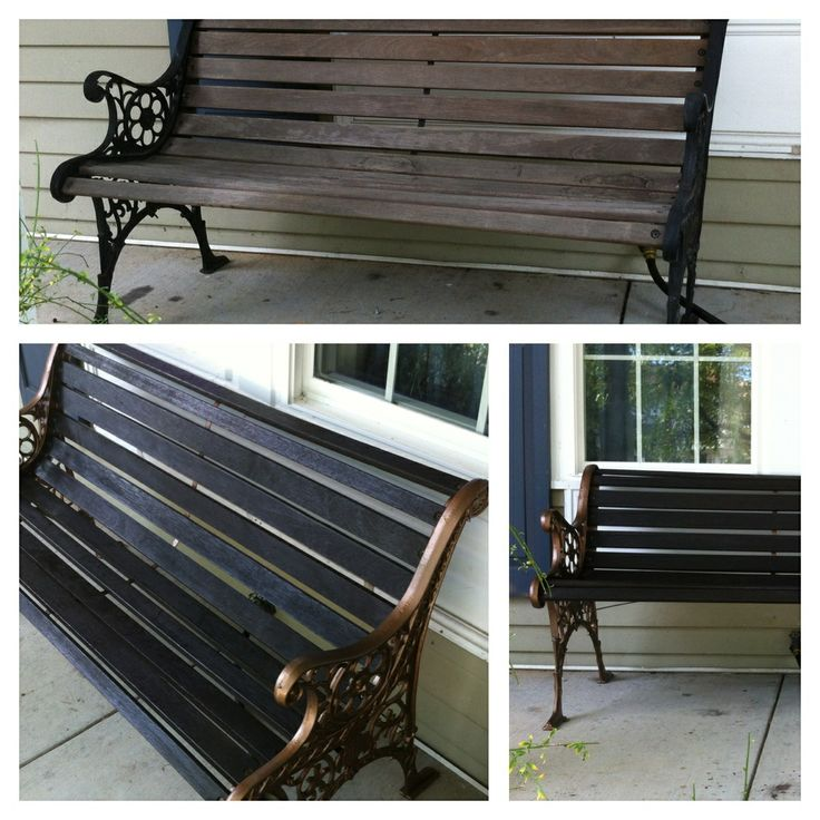 Garden bench before & after. Aged copper spray paint