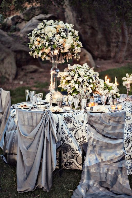 Table Linen/Table Cloth - White, black and silver ♥