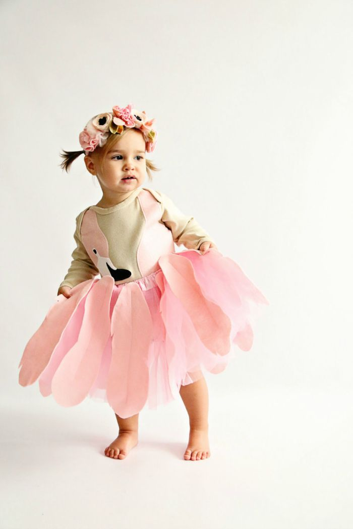 Costume ideas for kids: Dressing up as a pink Flamingo for fright night. That's sure to make your little one stand in the crowd. Good for year round dress up fun too.