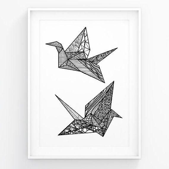 origami crane coloring pages   modern wall art origami crane black white art by futska on ...