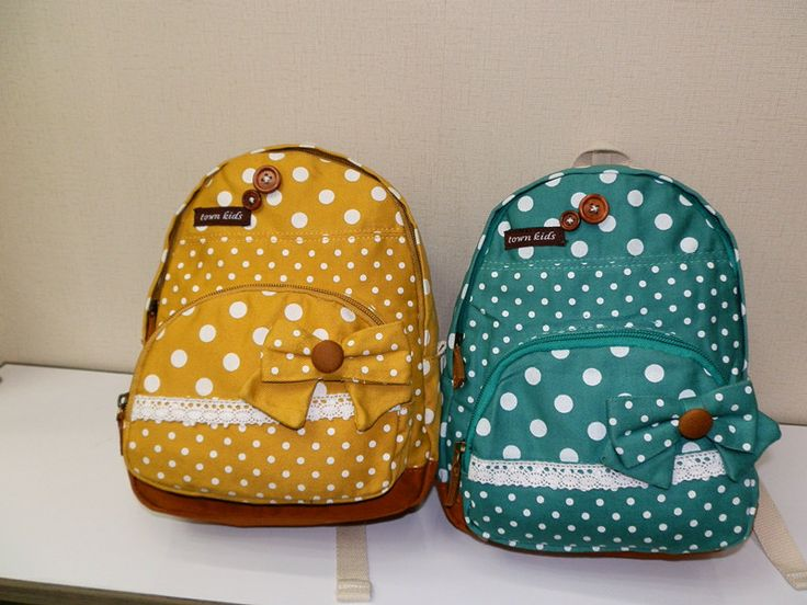 mochilas de niños bolsa de bebé para niños niñas schoolbag amarillo azul punto bowknot packsack calidad