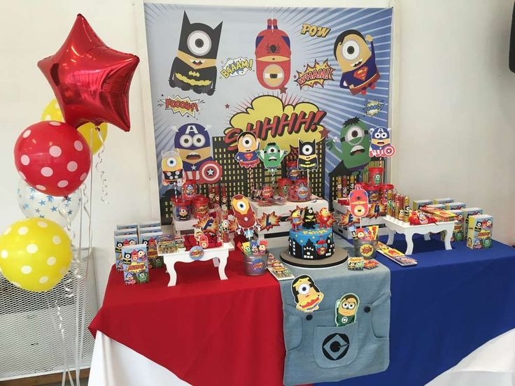 Minions Superhero birthday party | CatchMyParty.com