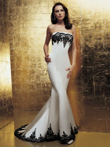black and white mermaid wedding dresses