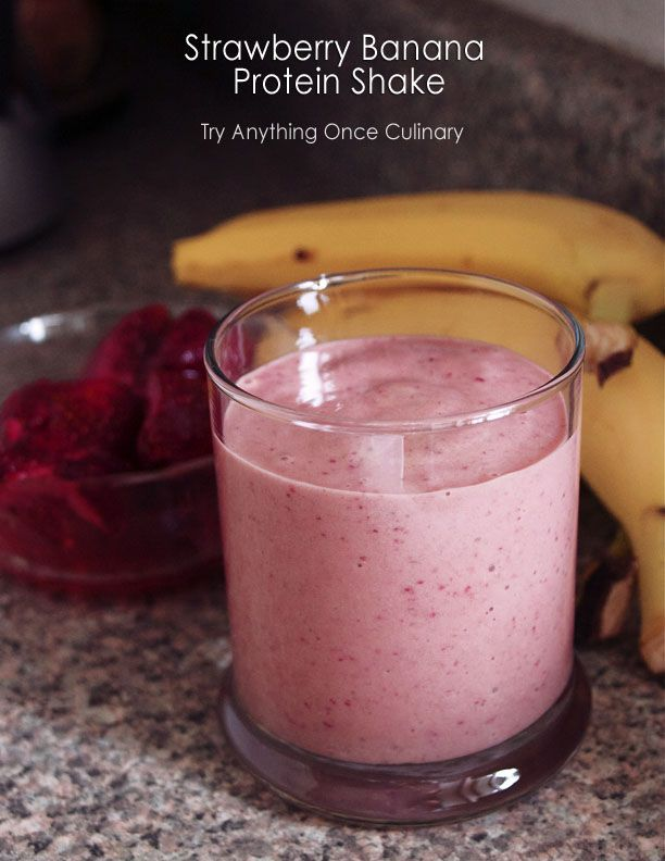 Strawberry Banana Protein Smoothie! Torts take: 1 banana, 150g frozen strawberries, 1 tsp flaxseed, 1/3 c vanilla yogurt, 1/3 c almond milk, 1 scoop whey protein powder.
