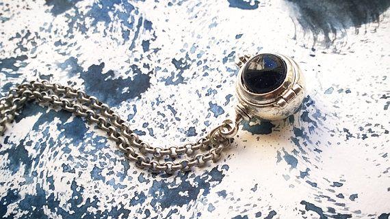 Silver Ball Locket Necklace Nautical Steampunk Unisex Blue