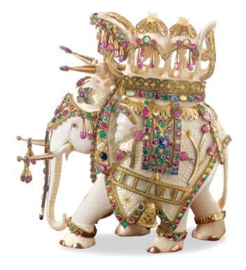 An Indian Carved Ivory Elephant Mounted In Gold And Jewels, Retailed By Van Cleef