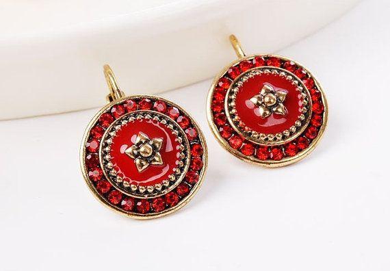 Vintage Bohemian red earrings - Vintage Jewelry - Christmas gift