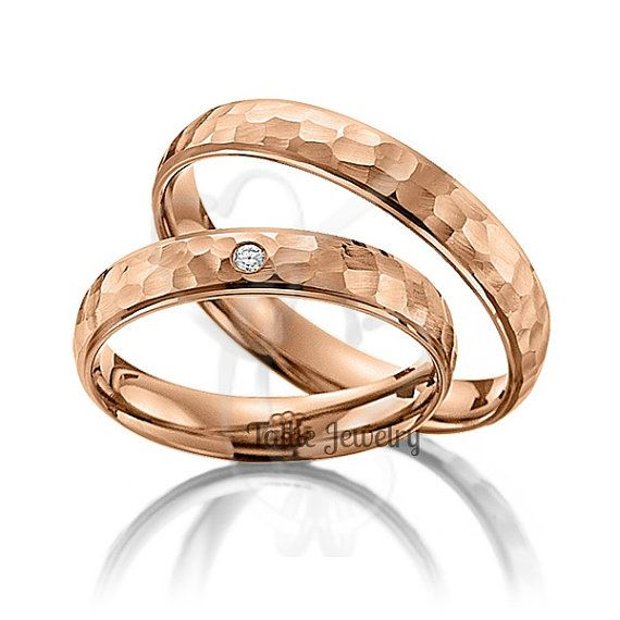 Matching Wedding Bands,His & Hers Wedding Rings,10K Rose Gold Diamond Wedding Bands,Womens Wedding Rings,His and Hers Matching Rings Set