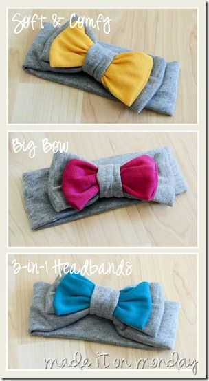 Soft and Comfy Big Bow 3-in-1 Headbands