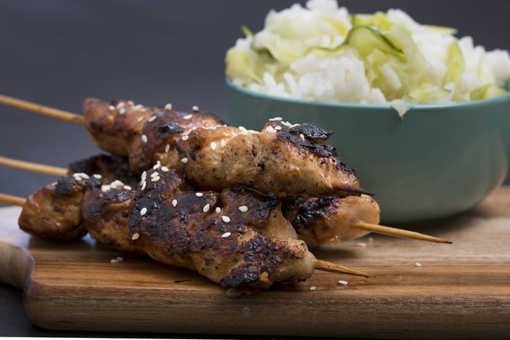 Honey Soy Chicken Skewers served with a Cucumber and Rice Salad