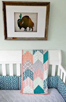 Modern western baby nursery #buffalo #nativevermont #lightermintwalls