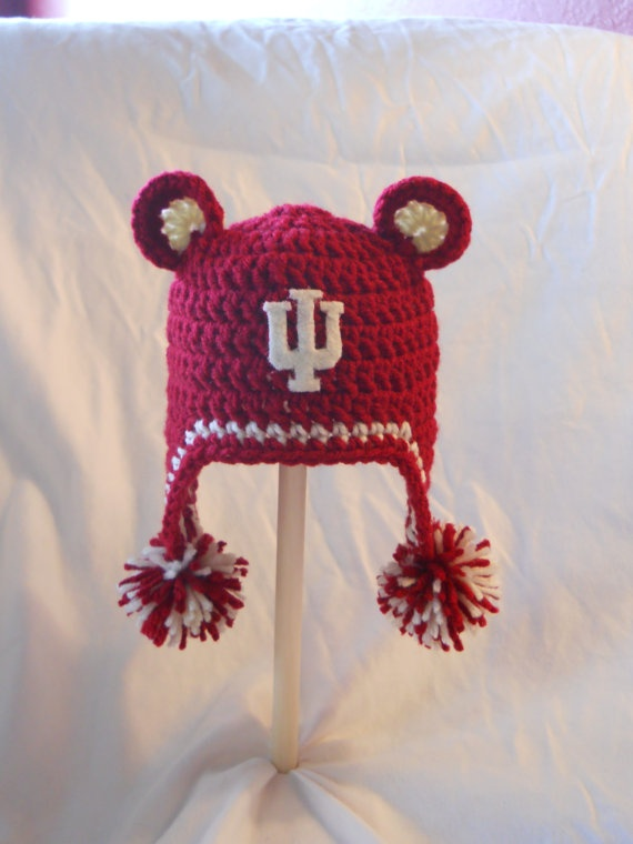 Loom Knit Baby Hat With Ear Flaps : Indiana university crochet baby ear flap hat with by