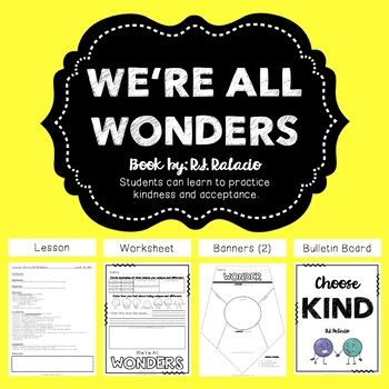 Are you familiar with the Wonder book by R.J. Palacio? How about the We're All Wonders picture book by R.J. Palacio? This product emphasizes on the power of your own wonder, empathy and being kind to others. Use this product as a companion to the Wonder