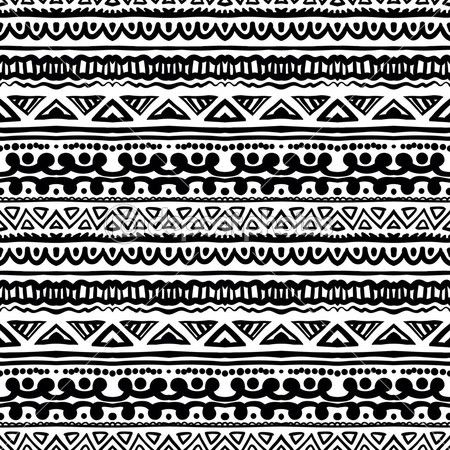 African Tribal Pattern Black And White