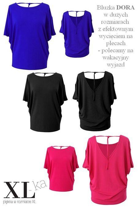 Bluzka Dora dostępna jest w dużych rozmiarach w sklepie XL-ka. Bluzka ma efektowne wycięcie na plecach. | #bluzkanawakacje #bluzkaplussize #bluzkaxxl