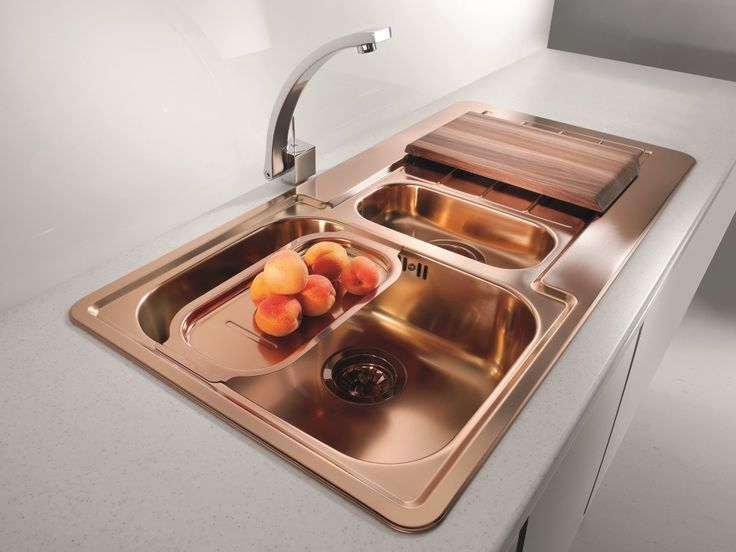 Dimensions:980 x500 x 160mm Inset kitchen sink,one and a halfbowl with drainer,made of premium 18/10 stainless steel material, in copper...