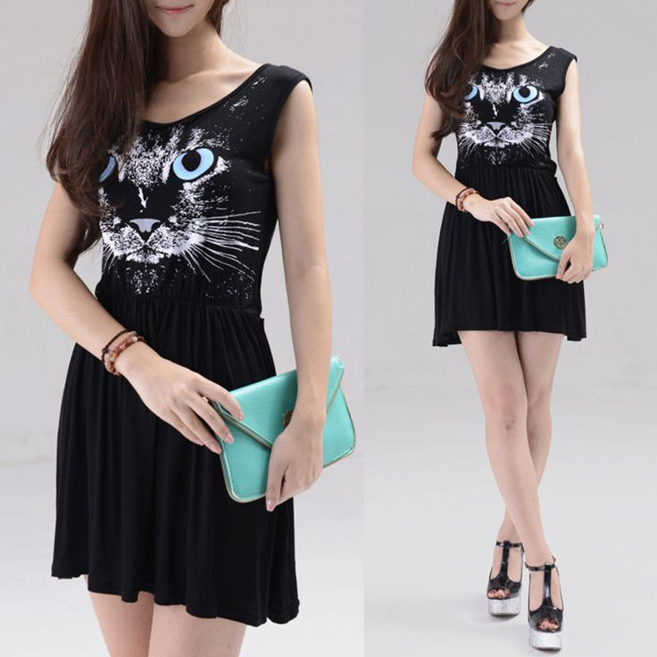 Women Sleeveless Mini Dress Elastic Waist Casual Animal Cat Print Tank Dress #Unbranded #Sundress #Casual
