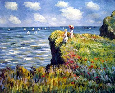 Claude Monet - A Cliff walk, Pourville.  Google Image Result for http://www.all-paintings.com/uploadfile/product/art-styles-Impressionism/Monet----A-Cliff-Walk--Pourville---0.jpg