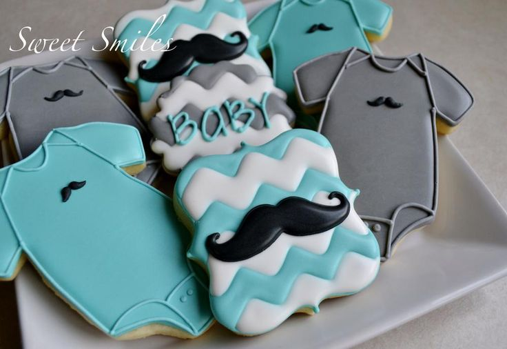 Mustaches and Chevron | Cookie Connection... Bow ties in place of the mustaches...